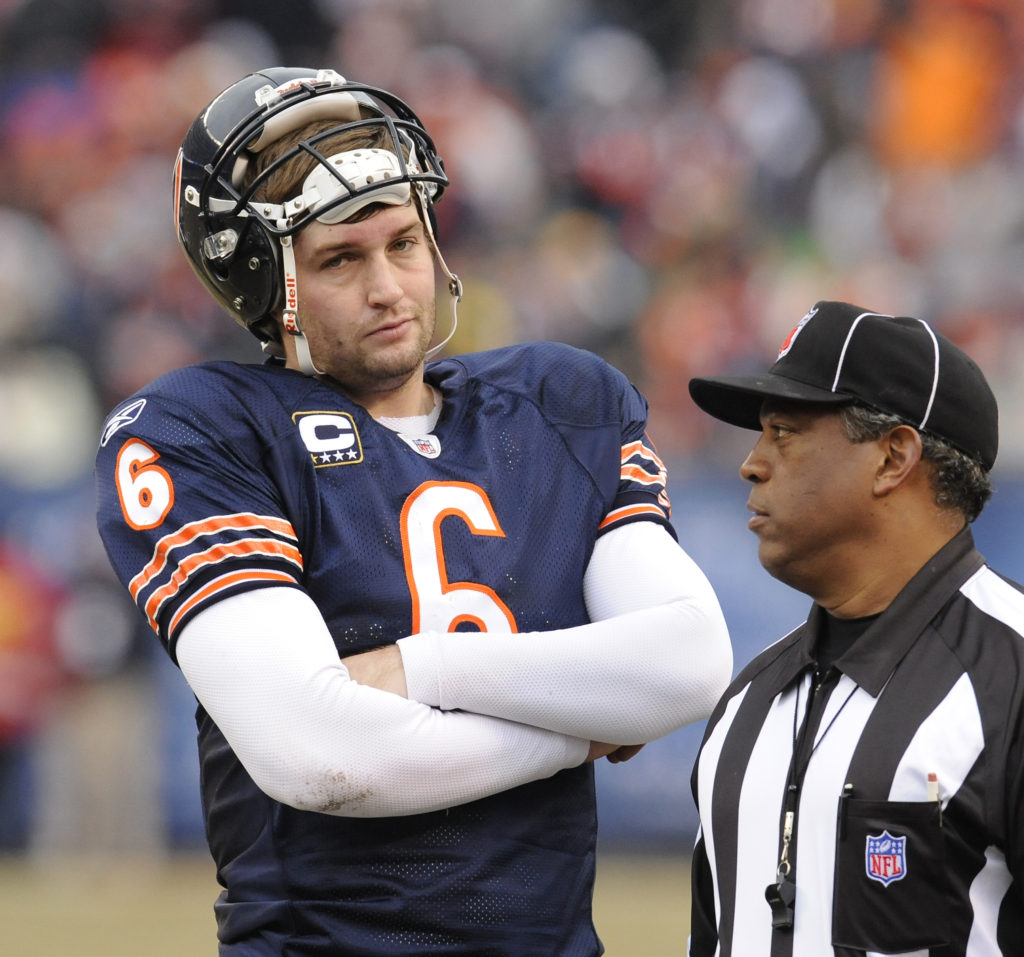 12-13-2009---Chicago Bears host the Green Bay Packers---Bears quarterback Jay Cutler waits for a challange call regarding a possible Bears TD in the 2nd quarter--Sun-Times photo by Tom Cruze